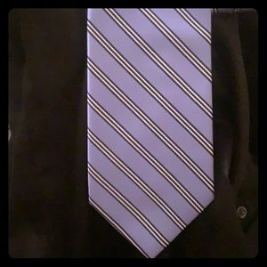 Men's Blue and Gray Striped Tie